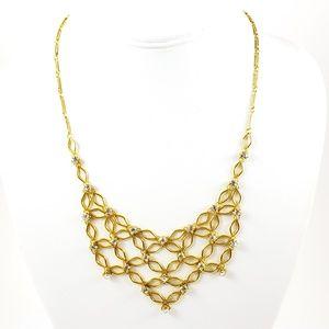 1928 Necklace Rhinestone Bib Necklace Gold Tone